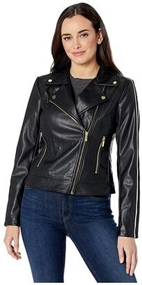 Calvin Klein Faux Leather Moto Jacket (Black) Women's Clothing