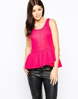 French Connection Polly Plain Frill Hem Top