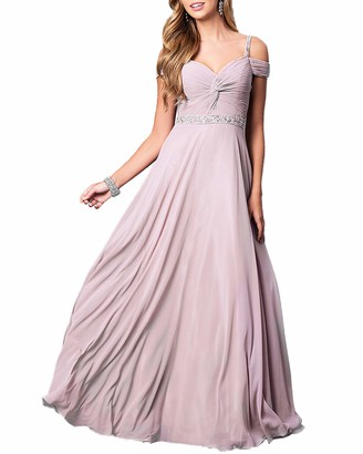 Roiii Women Ladies Evening Gowns Wedding Bridesmaids Long Dresses Chiffon Cold Shoulder Summer Party Maxi Dress (Pink 14-16)