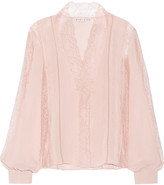 Alice + Olivia Robbie Lace And Crinkled-chiffon Blouse - Blush