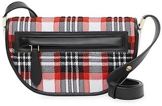 Burberry Olympia Tartan Knit Saddle Bag