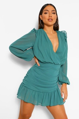 boohoo Chiffon Ruched Draped Mini Dress