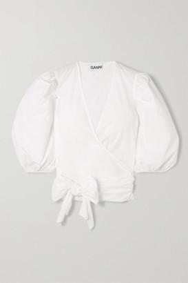 Ganni Cotton-poplin Wrap Shirt - White