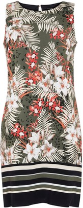 Wallis Khaki Leaf Print Shift Dress