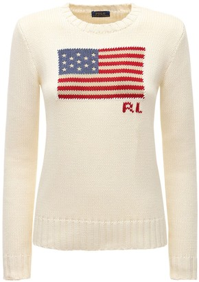 Polo Ralph Lauren American Flag Intarsia Cotton Sweater