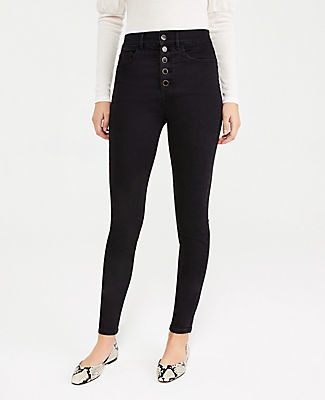 Ann Taylor Sculpting Pocket High Rise Skinny Jeans in Classic Black Wash
