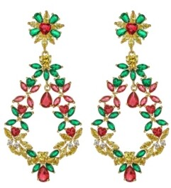 A&M A & M Gold-Tone Emerald and Ruby Accent Earrings