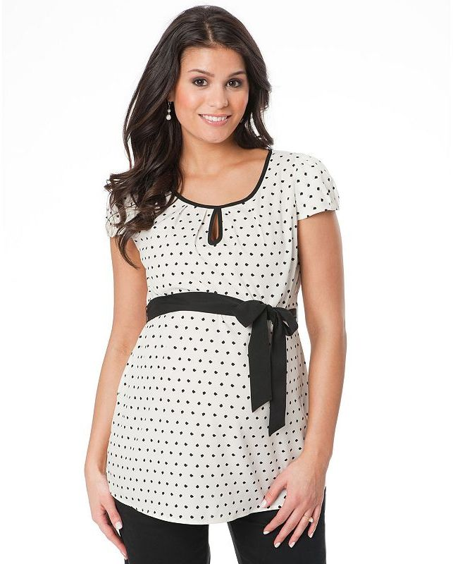 Oh Baby by motherhood polka-dot pleated top - maternity