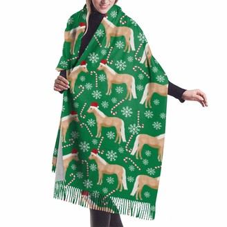 Gong Palomino Horse Christmas Candy Cane Snowflake Winter Christmas Xmas Holiday Green Shawl Wrap Winter Warm Scarf Cape Large Soft Cozy Cashmere Scarf Wrap Womans Warm Shawl Stole