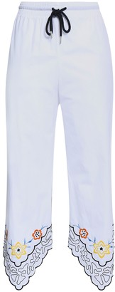 See by Chloe Cropped Embroidered Cotton-poplin Straight-leg Pants
