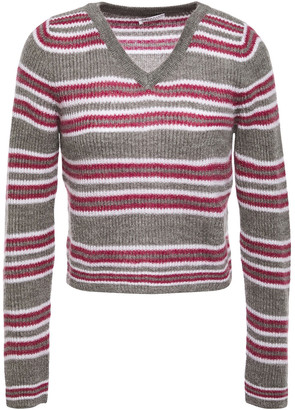 Brunello Cucinelli Cropped Metallic Striped Ribbed-knit Sweater