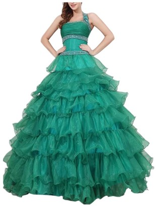 Emmani Sexy Long Halter Zipper New Organza for Women Girls Homecoming Prom Party Wedding Bubble Skirts Ball Gowns Dresses Green