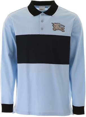 Burberry Long-Sleeve Logo Graphic Pique Polo Shirt
