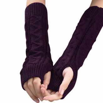 HUYURI Women Winter Wrist Arm Warmer Knitted Keyboard Long Fingerless Gloves Mitten Purple
