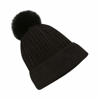 Yivise Women Winter Warm Knitted Beanie Bobble Hat Pompom Chunky Soft Stretch Skull Caps(Black)
