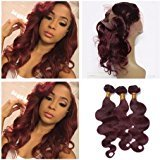 Tony Beauty Hair Wine Red Pre Plucked 360 Lace Band Frontal Closure With Bundles4Pcs Lot Body Wave #99J Burgundy Peruvian Virgin Human Hair Wefts With Full Frontal 360 Band Closure (22 with 26 28 30)