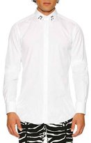 Dolce & Gabbana Cotton Dress Shirt with Music Note Collar, White