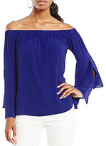 Antonio Melani Britt Pebble Crepe Off-The-Shoulder Blouse