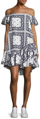Cinq à Sept Minella Off-The-Shoulder Scarf-Print Dress
