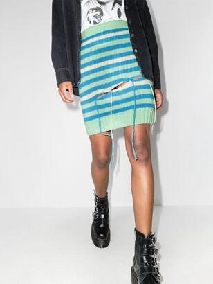 Charles Jeffrey Loverboy Distressed-Effect Striped Wool-Blend Skirt