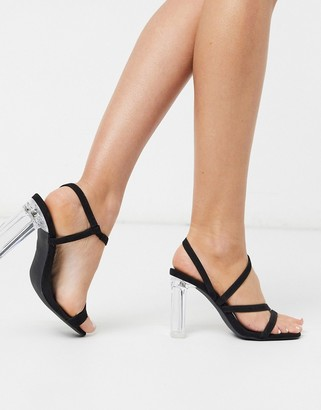 New Look strappy clear block heeled sandals in black