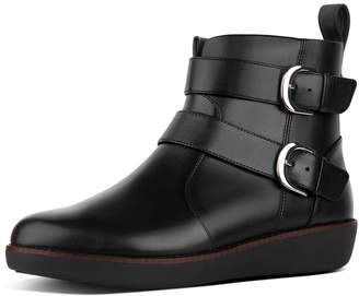 FitFlop Laila Double Buckle Leather Ankle Boots