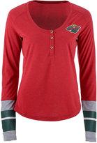 Reebok Women's Minnesota Wild Stripe Henley Long Sleeve T-Shirt