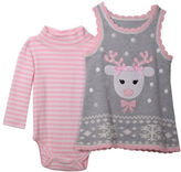 Iris & Ivy Baby Girls Two-Piece Reindeer Bodysuit and Sweater Jumper Set