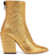 Petar Petrov Solar Metallic Cracked-leather Ankle Boots - Gold