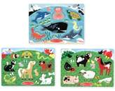 Melissa & Doug Kids' Farm Animals, Pets & Sea Creatures Peg Puzzle Bundle