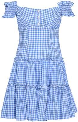 Caroline Constas Maria Off-the-shoulder Gingham Cotton-poplin Mini Dress