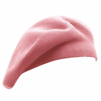 Wheebo French Beret Hat Reversible Solid Color Cashmere Beret Cap for Womens Girls Lady Adults - brown - M