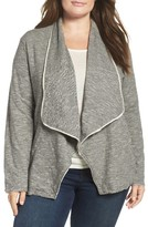 Plus Size Women's Caslon Knit Drape Front Jacket