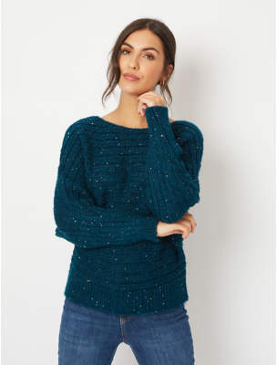 George Teal Sequin Horizontal Rib Batwing Jumper
