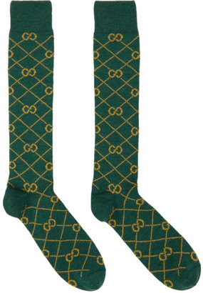 Gucci Green and Yellow GG Socks