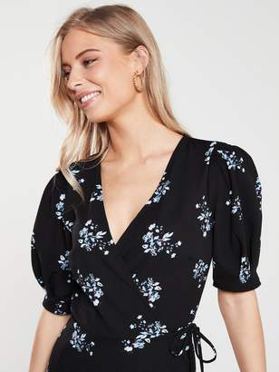 Very Jersey Wrap Puff Sleeve Dress - Black/Floral