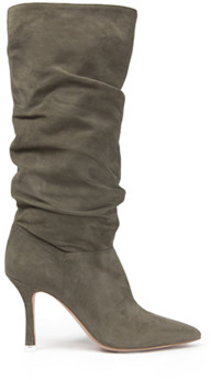 Black Suede Studio Grecia Slouchy Knee High Boot Moss