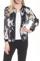 Ming Wang Floral Mesh Bomber Jacket