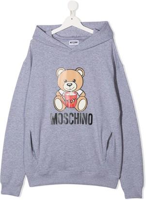 MOSCHINO BAMBINO TEEN Teddy logo print hoodie