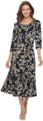 Nina Leonard Women's Print Midi Dress