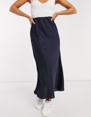 Asos DESIGN bias cut satin slip midi skirt in navy