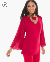 Chico's Pleated-Sleeve Top