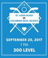9/20 vs. Columbus Blue Jackets at Scottrade Center - 300 Level