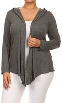 Fashion Stream Womens Plus Size Solid Open Front Cardigan With Draped Neck And Hood.MADE IN USA