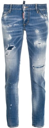 DSQUARED2 Light Paint Fade Down Jennifer cropped jeans