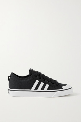 adidas Nizza Leather-trimmed Canvas Sneakers - Black
