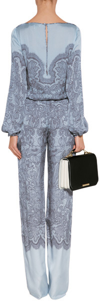 Emilio Pucci Azure Lace Print Jumpsuit with Lace Panel