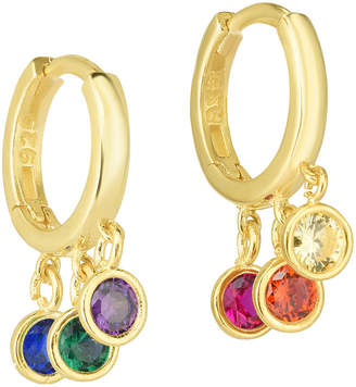 Sphera Milano 18K Yellow Gold Over Silver Cz Huggie Earrings