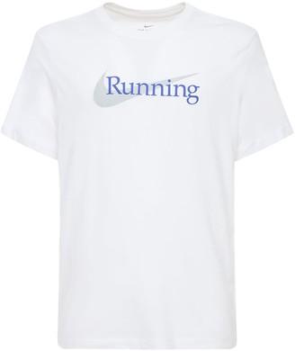Nike Logo Print Dri-Fit Cotton Blend T-Shirt