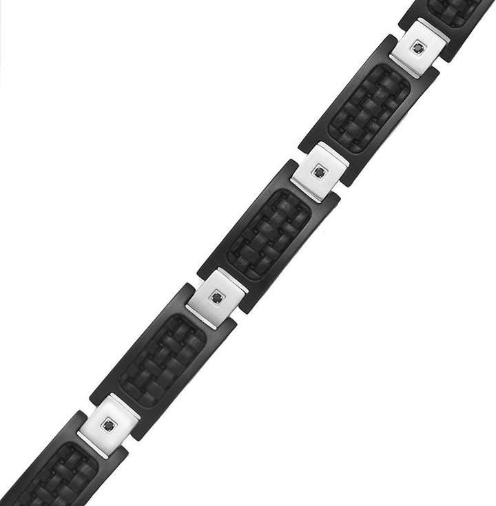 JCPenney FINE JEWELRY Mens 1/10 CT. T.W. Diamond Stainless Steel Leather Link Bracelet